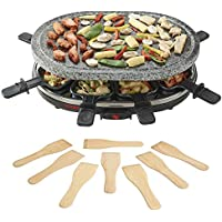 Traditional Stone Raclette Grill Hot Plate with 8 Wooden Spatulas for Healthier Cooking, 1500W by Cooks Professional