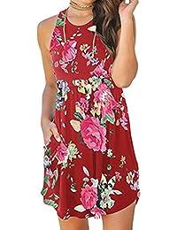 Vestidos de Mujer, ASHOP Vestido Verano 2018 Sin Mangas Casual Ajustados T-Shirt Vestido Coctel Fiesta Mini Dress Impresión Floral Boho…