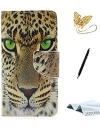 TOUCASA A3 Handyhülle,A3 Hülle, Brieftasche Flip etui Tasche 360 Grad Karte Halterung Kartenfächer extra Dünn Klapphülle Leinwand-Oberflächen-Ölgemälde-reizendes Tier fürSamsung A3(Leopard A)