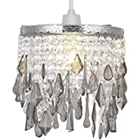 Crystal Pendant Light Shade, Modern Chandelier Design Ceiling Pendant Light Shade with Clear/Grey Acrylic Crystal-Smoke Grey