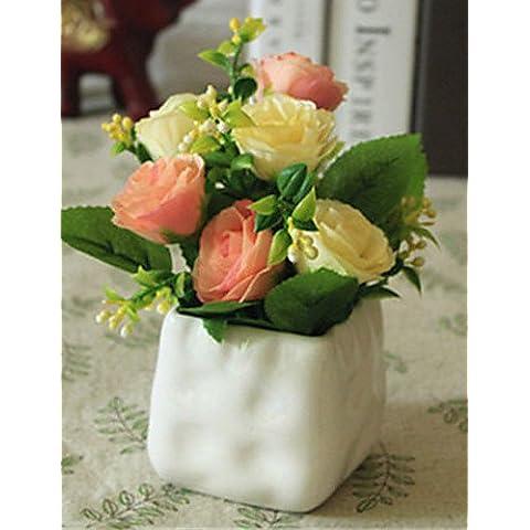 flores artificiales, rosess champán flores artificiales con el florero
