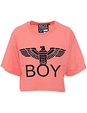 BOY LONDON DONNA T-SHIRT CORTA JERSEY STAMPA BL1020 m pesca