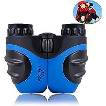 Prismáticos infantiles para niños, mini compactos 8 x 21 prismáticos de goma para observación de