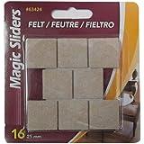 MAGIC SLIDERS L P - Surface Protectors, Felt Pad, Self-Stick, Oatmeal, 1-In. Square, 16-Pk.