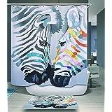 Beddingleer Cortina De Baño Cortina De Ducha Impermeable y Resistente al Moho PEVA Secado Rápido Impreso Digital Bañera Cortina Accesorios de Baño con Ganchos,180cm * 200cm,Tema Animal,Cebra