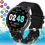 Burxoe Smartwatch Orologio Fitness Donna Uomo, Blutooth Smart Watch Impermeabile Ip68 Con Pressione Sanguigna