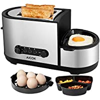 Aicok Toaster with Egg Boiler, 5-in-1 Toaster, 2-Slice Toaster with Extra-Large Slot, Egg Poachers, Mini Frying Pan and Steamer, Multifunctional Breakfast Machine - 1250 W, 7 Modes of Browning Control, Stainless Steel Silver