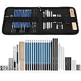 GHB 33PCS Crayons de Dessin Crayons Croquis Kit de Croquis Dessin avec Sac Inclus Gomme Crayon de Charbon Graphite Outils pour Dessiner
