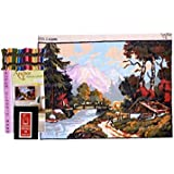 Anchor Printed Canvas for Embroidery Big Size 60 x 80 cm with 78 Anchor Threads & Needle Set with Design & Color Scheme Printed on it, Natural Scenery Design