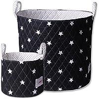 Minene Large & SMall Fabric Storage Basket Set, Organiser, Nursery, Kids,Star Storage Black&WHite Stars preiswert