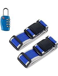 Okaytec Set 3 Accessoires Bagage Voyage - 2 Sangles Réglables & Cadenas Valise - Set de Sécurité Voyage et Code à Combinaison Approuvé par TSA