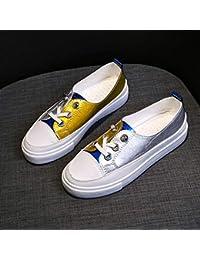 Zapatillas transpirables de color blanco para mujer, otoño, para estudiantes, informales, zapatos de coco, zapatos de marea (color azul).
