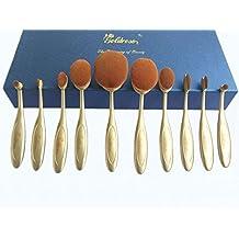 Goldrose 10pcs Elite suave oval multiusos cepillo de dientes Set cejas delineador de ojos Fundación Lip Oval cepillos herramienta (oro puro)