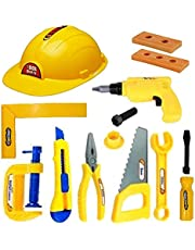 IndusBay Engineering Workshop Construction Equipments Tools Kit Toy Set with Safety Helmet and Equipment for Kids, 13 Piece