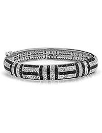 Bling Jewelry Art Deco Style Black CZ Bangle Bracelet Rhodium Plated