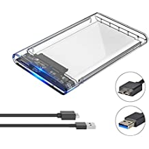 ELUTENG Disco Duro Caja USB 3.0 2.5 inch HDD / SSD Case Transparente 5Gbps High Speed Carcasa Externa Hard Disk Driver Enclosure Clear Box Externo