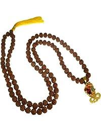 Numeroastro Garnet & Cats Eye Gemstone Pendant Mala For Rahu-Ketu & Kaalsarp Dosh Nivaran.