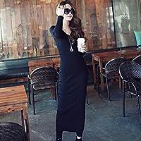 Spritech (TM)-Secondo le donne s, con scollo a V, Maglia a manica lunga, Slim Maxi Dress, nero, xxl