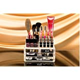 Kurtzy Double Layer Clear Acrylic Cosmetic Drawer Organizer Storage Rack For Makeup Brush Set Jewellery Art And...