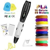 Pluma 3D Fede, Lápiz 3D con[12 Rollo Filamento de PLA ]en 12 Colores de 1,75mm Cada Uno de 3,3m y Un Total de 39,6m, Boligrafo 3D con Pantalla LCD para Impresión 3D Regalo para Niños y Adultos