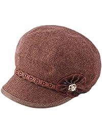 Dosige Mujer Sombrero Hongo Gorra Bombín con Visera Curvada Bowler Hat Sombrero  Boina para Cálido Gorro 429cda1b4c48
