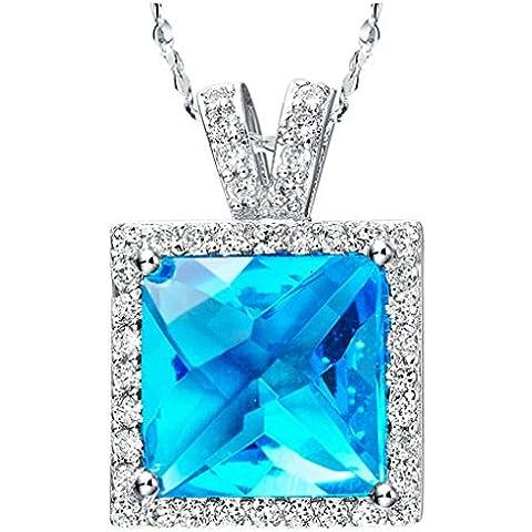 AnaZoz Joyería de Moda 18k Chapado en Platino Collar Colgante Para Mujer Azul Cristal Cadena Moda Simple Personality
