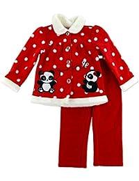 Young Hearts Baby Polar Outfit Chaqueta + Pantalón Rojo Blanco puntos con entzückender Panda Oso decorativo y brillo piedra Botones