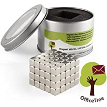 OfficeTree® 100 Mini Neodym-Magnet-Würfel 5x5x5 mm - extra-stark für Whiteboard Magnet-Tafel Pinnwand Glas-Magnet-Tafel Kühlschrank - Premium-Qualität