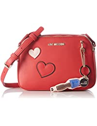 Love Moschino - Borsa Calf Pu Rosso, Bolsos baguette Mujer, Rot (Red), 17x24x8 cm (W x H D)