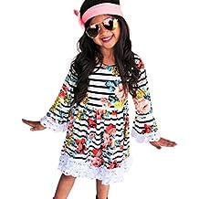 Covermason Niños Ropa Venta de liquidación Niños pequeños Bebés y niñas Vestido a media pierna de encaje con estampado de rayas florales y manga larga(3T, Blanco)