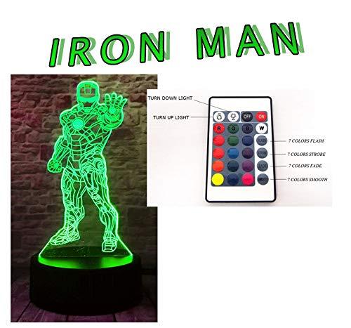 (ZQ visuelle 3d Iron Man Farbe wechselt die die Dekoration der Tischleuchte USB Geschenk Licht bunt von Nacht)