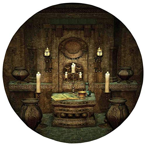 Fevthmii Round Rug Mat Carpet,Gothic,A Room with Altar in Fantasy Style Spells Spirituality Pentagram Symbols and Candles,Brown,Flannel Microfiber Non-Slip Soft Absorbent,for Kitchen Floor Bathroom -