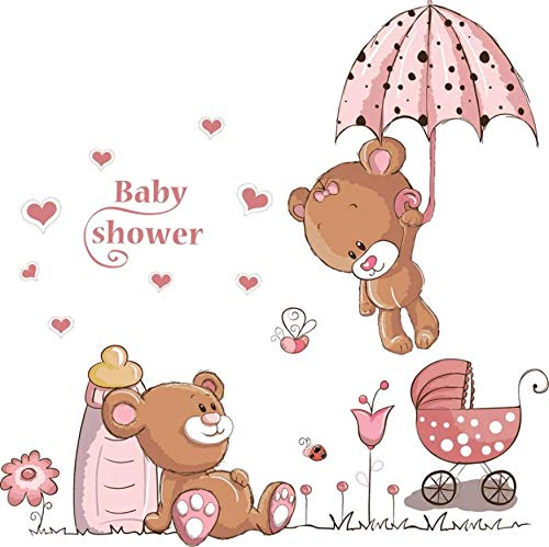 Baby Dusche Bär Karton Niedlich Kinder Geschenk Dekorative Kinder Baby Kinderzimmer Wandbild Dekor Abziehbild Hochzeitsdekoration ()