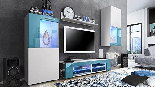 Wohnwand Petrol und weiss - Hochglanz mit blauer LED Beleuchtung