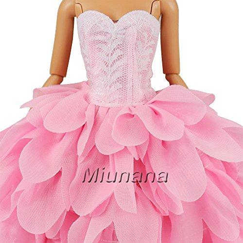 Miunana Abendkleid Prinzessin Kleidung Dress Kleider mit Hut für Barbie Puppen -