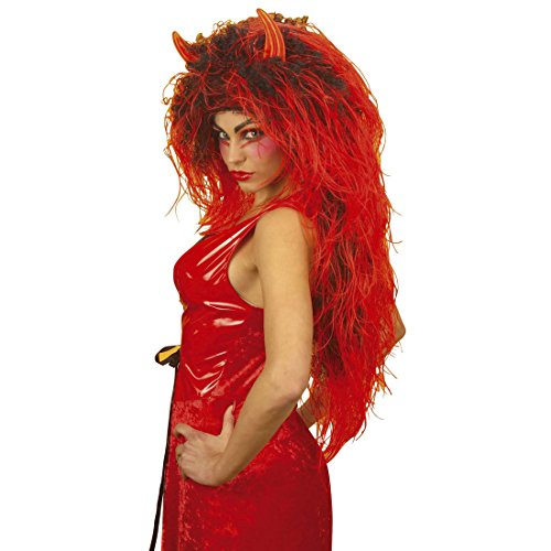 Langhaarperücke Damen Extra lange Teufelin Perücke rot-schwarz Damenperücke Teufel Teufelperücke mit Teufelshörner Halloweenperücke Kostüm Zubehör Teufelsperücke Hölle