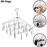 Kurtzy Drying Hanger Square Stainless Steel with Clips Hooks Pegs for Undergarments Socks Ties Baby Clothes 38X30X25CM (20 Pegs)