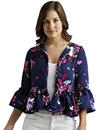 Miss Chase Women's Multicolored Floral Print Ruffled Jacket