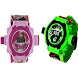 Combo Ben 10 And Barbie Projector Watch For Kids (24 Images) Pack Of 2
