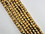 #8: The Design Cart Golden Metallic Cube Shaped Crystal Bead ( 4 mm ) ( 1 String )