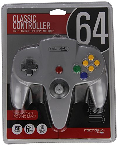 Retro-bit - N64 -892 N64 Wired controlador USB para PC y Mac - gris