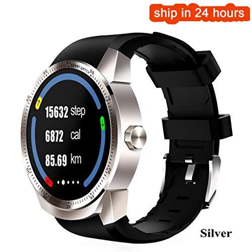 JingJingQi smart Watch K98H 3G Smart Watch Herren Android 4.1 MTK6572A 1.2GHz Dual Core 4GB Bluetooth GPS Uhr Herren 1.3 Zoll Pulsmesser Pedomete, Silber Android 4.0.4 Dual-core