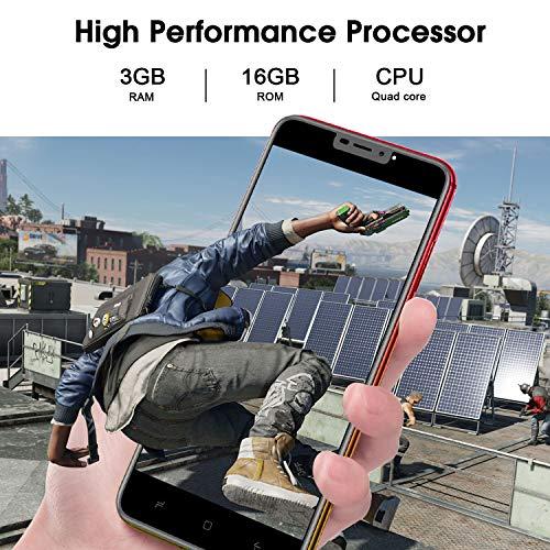 Smartphone Débloqué 4G,Android 9.0, 5.5 pouces13MP 4800mAh Téléphone Mobile, HD 3GO RAM 16GO ROM /128 Expansion Dual SIM Face ID Téléphone Portable Pas Cher sans Forfait WiFi GPS Bluetooth (Rouge)
