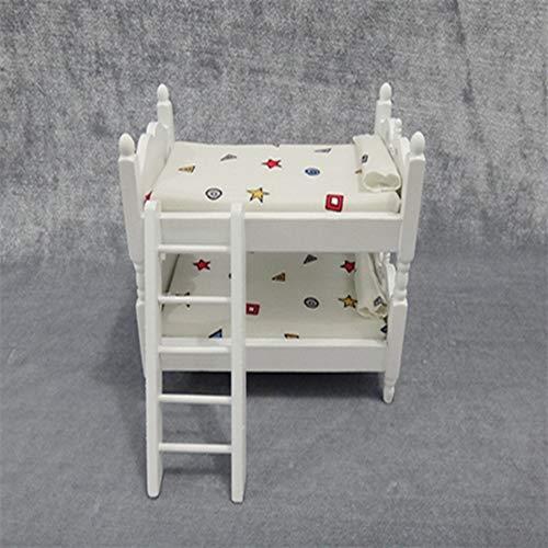 Egurs 1:12 Puppenhaus Miniatur Schlafzimmermöbel Holz Etagenbett Weiß Puppenhaus Möbel Zubehör Geometrische Muster (Etagenbett Schlafzimmer-sets)