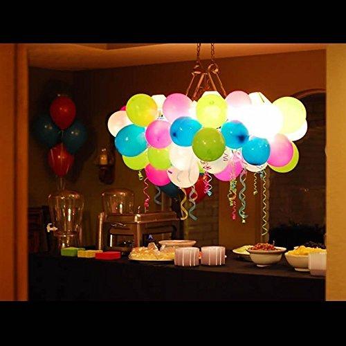 Preisvergleich Produktbild 40 LED leuchtende bunte Luftballons mit farbigem Band, 24 Stunden Leuchtdauer, für Party, Geburtstag, Hochzeit, Festival, Weihnachten, von AGPTEK Q01, 7 Farben