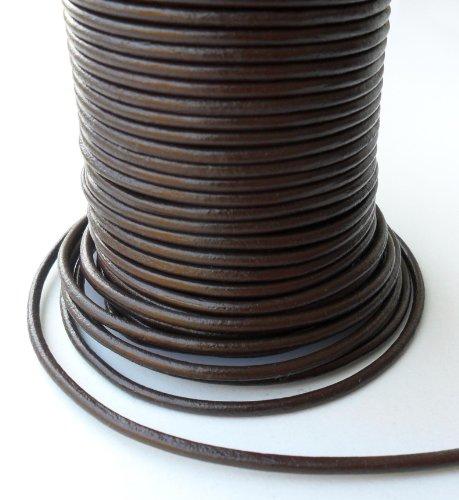 Auroris 25 M de Rollo de cordón de Cuero, diseño Redondo de diámetro de 1 mm, Colour marrón
