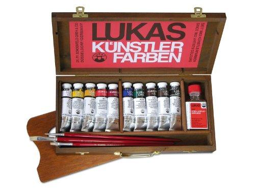 Lukas 60540000 - Cryl pastos-Künstler-Acrylfarbe im Holzkasten, 10 Tuben á 37 ml, 50 ml...
