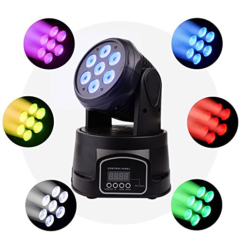 BETOPPER Moving Head Stage Light, 7x8W RGBW 4 in 1 Moving Heads DJ Lighting, DMX512 Mini LED Moving Head Light for Disco Wedding Event Show (LM70)