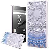 Carcasa Sony Z5 , We Love Case Funda para Sony Xperia Z5 Tribal Étnico Diseño Funda Silicona Gel TPU Bumper Case Cover Flexible Premium Carcasa Cubierta de Teléfono Absorción Choques Resistente a los Arañazos - Mandala Azul Claro