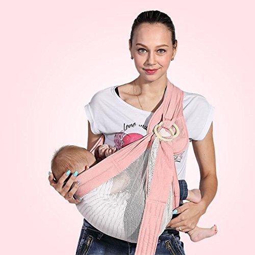 AIBAB Babytragen Tragetücher Rückentragen 0-36 Monate Baby Riemen Sling Sommer Atmungsaktiv Mesh Baumwollmaterial Eine Schulter Multifunktional Ergonomisches Design,Pink